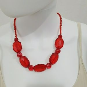 Jewelry - Red Earrings and Necklace Set
